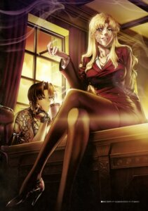 Rating: Safe Score: 28 Tags: balalaika black_lagoon hiroe_rei pantyhose revy smoking tattoo User: drop
