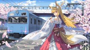 Rating: Safe Score: 38 Tags: animal_ears japanese_clothes kitsune landscape qihai_lunpo tail User: sym455