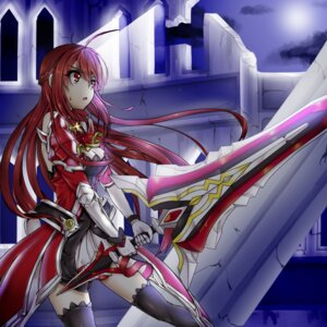 Rating: Safe Score: 28 Tags: armor cleavage dress elesis elsword sword thighhighs veca_(yuto530) User: charunetra