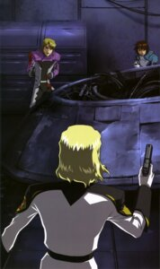 Rating: Safe Score: 3 Tags: blood gun gundam gundam_seed kira_yamato male mu_la_flaga rau_le_creuset User: drop