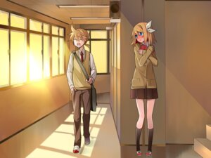 Rating: Safe Score: 23 Tags: kagamine_len kagamine_rin seifuku temari_(artist) vocaloid wallpaper User: SlenderMan