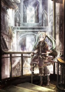 Rating: Safe Score: 40 Tags: hatsune_miku landscape sword thighhighs utatanecocoa vocaloid User: Nepcoheart