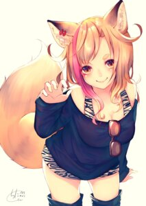 Rating: Safe Score: 26 Tags: animal_ears chita_(ketchup) cleavage tail thighhighs User: Mr_GT