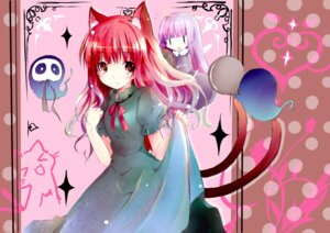 Rating: Safe Score: 15 Tags: animal_ears kaenbyou_rin nekomimi shichinose tail touhou User: fairyren