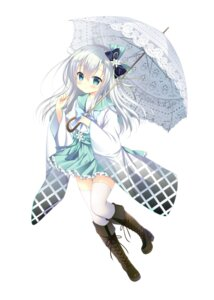 Rating: Safe Score: 59 Tags: heels onsen_musume seifuku shimoda_rika shirogane_hina thighhighs umbrella User: saemonnokami
