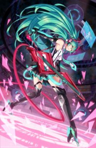 Rating: Safe Score: 74 Tags: 2d guitar hatsune_miku thighhighs vocaloid User: Mr_GT