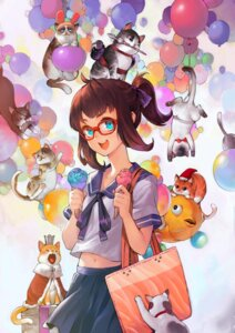Rating: Safe Score: 22 Tags: animal_ears bunny_ears eyepatch megane neko patipat_asavasena seifuku User: Mr_GT