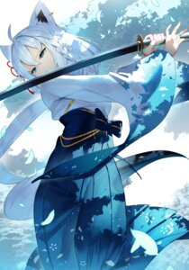 Rating: Safe Score: 32 Tags: animal_ears japanese_clothes sukocchi sword tail User: Mr_GT