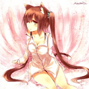Rating: Safe Score: 59 Tags: animal_ears bra cleavage dress_shirt naomi_(sekai_no_hate_no_kissaten) nekomimi tail User: 椎名深夏