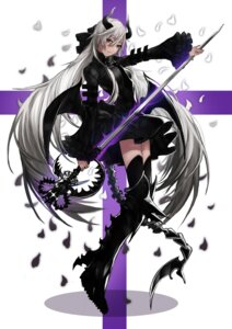 Rating: Safe Score: 29 Tags: horns pantsu_moriko sword thighhighs wings User: Radioactive