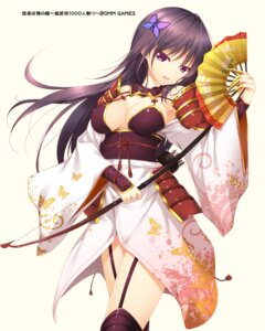 Rating: Questionable Score: 95 Tags: cleavage erect_nipples japanese_clothes mogu nobunaga_haorenoyome stockings thighhighs weapon User: blooregardo
