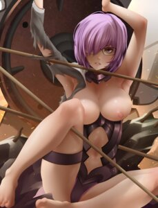 Rating: Questionable Score: 40 Tags: armor bearwitch bondage breasts fate/grand_order feet garter megane nipples no_bra open_shirt shielder_(fate/grand_order) torn_clothes weapon User: mash