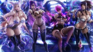 Rating: Questionable Score: 85 Tags: ahri akali animal_ears bra breast_hold cleavage evelynn heels kai'sa league_of_legends no_bra pantsu sakimichan see_through thighhighs User: Mr_GT