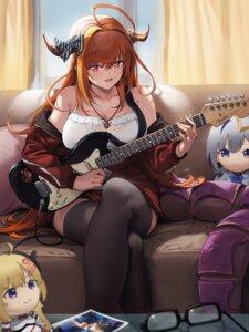 Rating: Questionable Score: 21 Tags: amane_kanata chibi guitar hololive horns kiryuu_coco ko-ma monster_girl tail thighhighs tsunomaki_watame User: Dreista