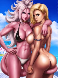 Rating: Questionable Score: 24 Tags: android_18 ass bikini dandon_fuga dragon_ball_fighterz majin_android_21 naked nipples pointy_ears swimsuits tagme tail User: Radioactive