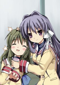 Rating: Safe Score: 17 Tags: astral_trip clannad fujibayashi_kyou ibuki_fuuko seifuku tomusooya User: fireattack