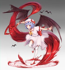 Rating: Questionable Score: 15 Tags: goback heels remilia_scarlet skirt_lift thighhighs touhou weapon wings User: Dreista