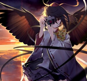 Rating: Safe Score: 6 Tags: japanese_clothes shameimaru_aya touhou wings User: Mr_GT