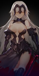 Rating: Safe Score: 51 Tags: armor fate/grand_order horz jeanne_d'arc jeanne_d'arc_(alter)_(fate) no_bra sword thighhighs torn_clothes User: Mr_GT