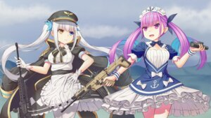 Rating: Safe Score: 14 Tags: 1037519921 crossover gun heterochromia hololive kagura_mea maid minato_aqua pantyhose project_paryi uniform User: h163487