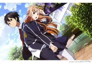 Rating: Safe Score: 29 Tags: asuna_(sword_art_online) kirito pantyhose seifuku sword_art_online toya_kento User: drop