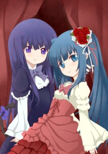 Rating: Safe Score: 5 Tags: frederica_bernkastel furudo_erika lolita_fashion nemu_(artist) tail umineko_no_naku_koro_ni User: 洛井夏石