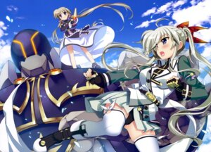 Rating: Questionable Score: 30 Tags: corona_timir einhart_stratos fujima_takuya heterochromia mahou_shoujo_lyrical_nanoha mahou_shoujo_lyrical_nanoha_vivid mecha pantsu thighhighs uniform weapon User: drop