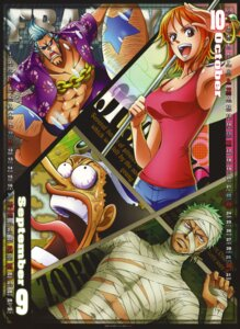 Rating: Safe Score: 15 Tags: bandages calendar cleavage franky megane nami one_piece open_shirt roronoa_zoro usopp User: draxdrilox