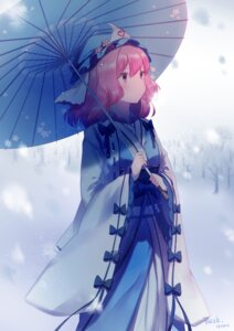 Rating: Safe Score: 27 Tags: saigyouji_yuyuko signed tagme touhou umbrella User: RyuZU