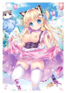 Rating: Questionable Score: 61 Tags: animal_ears breasts cameltoe dress mikeou nekomimi nipples no_bra open_shirt pantsu skirt_lift stockings tail thighhighs User: Arsy
