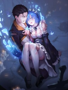 Rating: Safe Score: 56 Tags: blood cleavage maid natsuki_subaru re_zero_kara_hajimeru_isekai_seikatsu rem_(re_zero) thighhighs tiger_205 torn_clothes User: Mr_GT