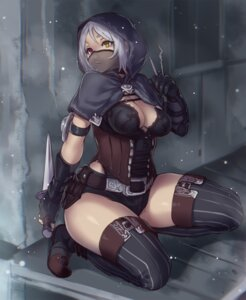 Rating: Questionable Score: 89 Tags: cleavage heterochromia houtengeki thighhighs weapon User: donicila