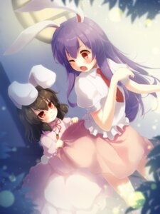 Rating: Safe Score: 39 Tags: animal_ears bunny_ears dress gengetsu_chihiro inaba_tewi reisen_udongein_inaba skirt_lift tail touhou User: Mr_GT