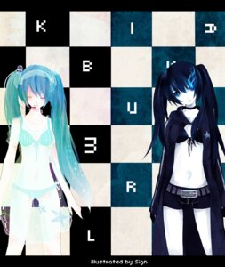 Rating: Safe Score: 15 Tags: bikini black_rock_shooter black_rock_shooter_(character) hatsune_miku sign swimsuits vocaloid User: charunetra