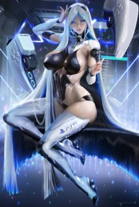 Rating: Questionable Score: 28 Tags: heels mecha_musume no_bra os-tan ps5-tan sakimichan thighhighs User: ImPixel