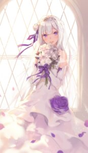 Rating: Safe Score: 111 Tags: dress emilia_(re_zero) re_zero_kara_hajimeru_isekai_seikatsu shouin wedding_dress User: Mr_GT