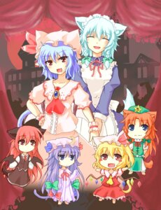 Rating: Safe Score: 9 Tags: animal_ears chibi dexi44 flandre_scarlet hong_meiling izayoi_sakuya koakuma maid patchouli_knowledge remilia_scarlet touhou wings User: konstargirl