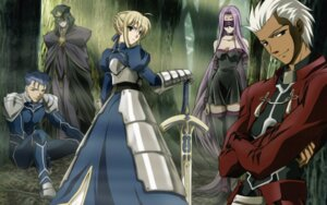 Rating: Safe Score: 8 Tags: archer caster fate/stay_night lancer rider saber yanagisawa_tetsuya User: animus