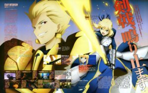 Rating: Safe Score: 9 Tags: armor fate/stay_night fate/zero gilgamesh_(fsn) saber shimaji_mayuka sword User: Azraelson