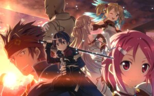 Rating: Safe Score: 47 Tags: agil armor asuna_(sword_art_online) dress kirito klein klein_(sword_art_online) lisbeth pina silica sword sword_art_online thighhighs yuuki_tatsuya User: icgeass