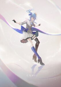 Rating: Safe Score: 9 Tags: dress garter heels hololive hoshimachi_suisei krin skirt_lift tagme thighhighs User: Dreista