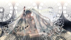 Rating: Safe Score: 35 Tags: cleavage dress hatsune_miku heels shijuuhachi stockings sword thighhighs torn_clothes vocaloid wallpaper wedding_dress User: charunetra