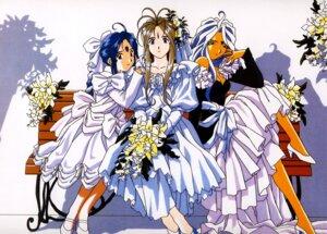 Rating: Safe Score: 11 Tags: ah_my_goddess belldandy dress skuld urd wedding_dress User: Anonymous