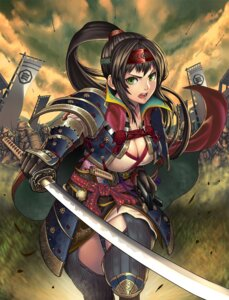 Rating: Questionable Score: 45 Tags: armor cleavage kasen_(kasenjiki) sengoku_taisen sword tsuruhime tsuruhime_(taisen) User: mash