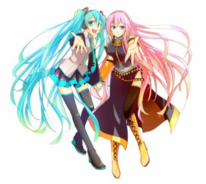 Rating: Safe Score: 16 Tags: haru_aki hatsune_miku megurine_luka thighhighs vocaloid User: fairyren