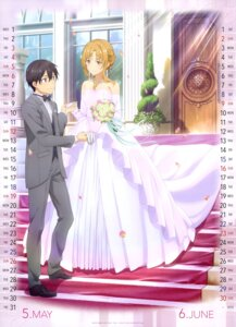 Rating: Safe Score: 53 Tags: asuna_(sword_art_online) calendar dress kirito sword_art_online tagme wedding_dress User: drop