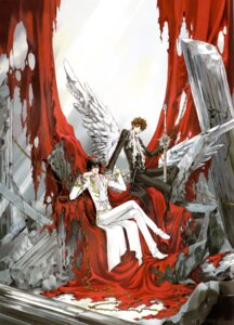 Rating: Safe Score: 9 Tags: clamp code_geass kururugi_suzaku lelouch_lamperouge male screening sword watermark wings User: Lua