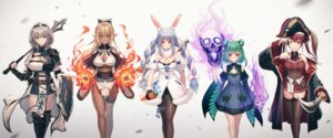 Rating: Safe Score: 22 Tags: animal_ears armor bunny_ears bunny_girl cleavage dress garter heterochromia hololive houshou_marine japanese_clothes mazel pantsu pantyhose pirate pointy_ears shiranui_flare shirogane_noel string_panties sword thighhighs uruha_rushia usada_pekora weapon User: Mr_GT