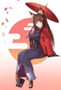 Rating: Safe Score: 34 Tags: amagi_(azur_lane) animal_ears azur_lane chane kimono umbrella User: mash
