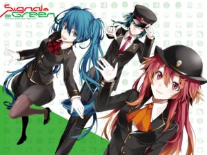 Rating: Safe Score: 20 Tags: arisaka_ako gumi hatsune_miku nanase_kanon pantyhose uniform vocaloid User: Radioactive